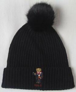 Ralph Lauren Black Collectable Polo Bear Hot Coco Pom Pom Beanie Hat NWT