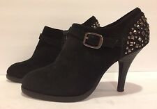 Nine West Westwick Ankle Boots Studded High Heels Suede Zip Black 8.5 M