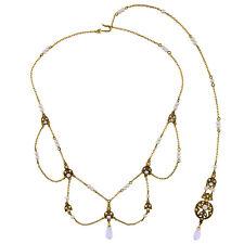 Collier Doré Long Dos Pendantif Art Deco Ambré Opale Vintage Fin Retro XXL1