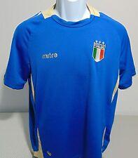 Mitre Italia Soccer Blue Short Sleeve Polyester T-Shirt Mens Small
