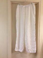AKS Amy K Su for Nordstrom White 100% Tencel Pants w/ Elastic Waist L EUC