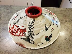"Vintage 1940s-50s Metal Christmas Tree Stand Wintery Scene Sleigh Snow 20"" x 6"""