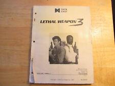 Lethal Weapon 3 Data East pinball machine manual