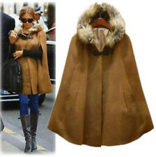 N01 womens real wool cape jacket fur collar jacket poncho Cloak trench outwear