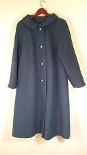 Vintage 60s WOOL Full Length Trench  Coat Jacket Teal  Womens See Measurement