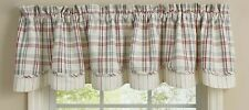 """1 Farm Yard White Gray Deep Red Plaid Country Lined Layered Valance 72"""" x 16"""""""