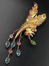 Vintage Brooch By Graziano Designer Signed Bird Of Paradise Colorful Rhinestones