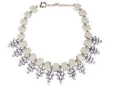 Ethnic Golden Tone Clear Rhinestone White Bead Chunky Fashion Necklace Clr
