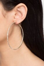 Small Oversize Large Silver Gold Hoop Earrings Big Round Circle Rhinestone Hoop