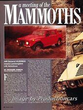 1992 Hummer H1 Lamborghini LM002 Original Car Review Report Print Article J778