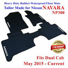 Heavy Duty Rubber Floor Mats for Nissan Navara NP300 D23 Dual Cab 15 - 19