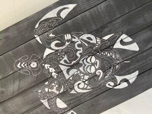 Surfboard Table,Mandala, Surfing gift, Art Decor New - Black