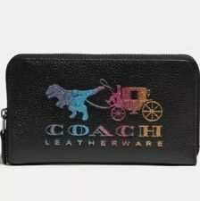 ❤️ Coach Medium Zip Around With Rexy And Carriage Black Multi/Gunmetal Wallet