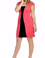 Adrianna Papell Stretch Jersey Flare Red N Black Colorblock Sheath Dress SZ 20W