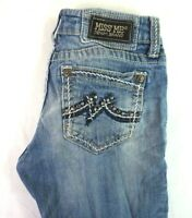 MISS ME Women's Light Wash Boot Cut Denim Jeans w Gem Studded Pockets 28 x 33