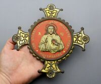 French, Antique Religious Large Pendant. Jesus Christ. Sacred Heart. Montmartre.