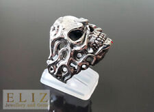 925 Sterling Silver Ghost rider Fire Skull punk goth biker rocker Ring