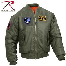 Rothco MA-1 Flight Jacket With Patches - Black & Sage Green Bomber Puffer Jacket