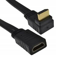 0.2M HDMI Right Angle 90 Degree Flat Cable Plug To Female Socket Extension