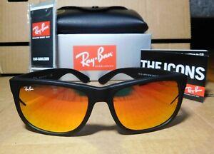 New Ray-Ban Justin RB4165 622/6Q Matte Black-Red Mirror 55MM Sunglass