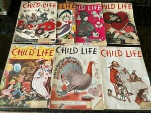 Lot of 8 Vintage Child Life Magazines 1954 -1955 Norman Rockwell Thanksgiving