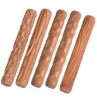 Holz Handrollen für Ton Stempel Ton Muster Roller Keramik Werkzeuge Geschni X5K7