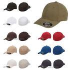FLEXFIT Mens Garment Washed Fitted Baseball Cap Blank Plain Hat S/M L/XL 6997