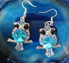 Pendientes Buhos plata colores azul claro Cristales Ganchos aus Plata 925