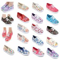 Ladies Flat Plimsolls Trainers Size 3 to 8 UK Slip On Canvas Pumps Floral Shoes