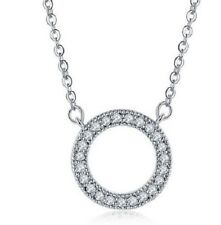 CZ CIRCLE OF LIFE PENDANT NECKLACE. SILVER PLATED