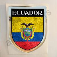 Pegatina Ecuador 3D Bandera Grunge Escudo Adhesivo Resina Relieve Pegatinas