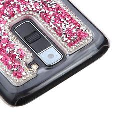 LG Treasure Tracfone - PINK Crystal Rhinestone Studs Diamond Hard Back Skin Case