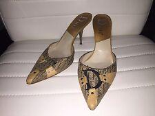 Christian Dior beige monogram shoes slides heel sz 38 7 1/2