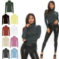 Women Ladies Long Sleeve Polo Neck Turtle Roll High Neck Jumper Top Sizes S-XL