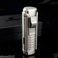 COHIBA SILVER METAL WIND-PROOF 4 TORCH JET FLAME CIGAR CIGARETTE LIGHTER W/PUNCH