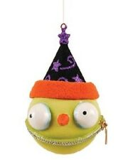 "67929 4"" ZUNEZ Halloween Ornament Green Goblin Wizard Witch Monster Zipper Mouth"