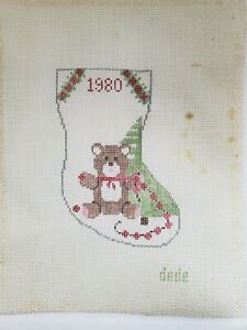 """Hand Painted Cross Stitch Canvas MERRY XMAS 7""""x3"""""""