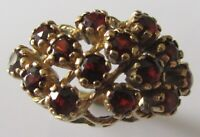 Vintage 9ct yellow gold multi garnet cluster ring size L
