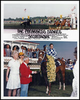 SECRETARIAT, RON TURCOTTE, PENNY TWEEDY - 1973 PREAKNESS STAKES 8X10 PHOTO!