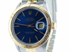 Rolex Datejust 2Tone 18K Yellow Gold & Steel Turn-O-GRAPH Thunderbird Blue 16263