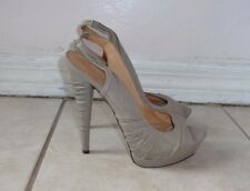 L.A.M.B. Gwen Stefani BEIGE LEATHER GATHER DETAIL PEEP TOE PLATFORM PUMPS Sz 8.5