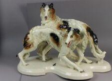 Cortendorf Porzellan Figur - 2 Barsoi Windhunde - gemarkt - guter Zustand /S139