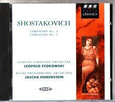 Shostakovich: Symphony No. 1 & 5 CD NEW-Leopold Stokowski & Jascha Horenstein