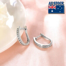 Elegant 18K White Gold Filled Clear CZ Crystal Huggie Hoop Earrings Gift