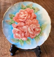 """Hand Painted Signed Floral Cabbage Roses Painting Porcelain Gold Edge Plate 6.5"""""""