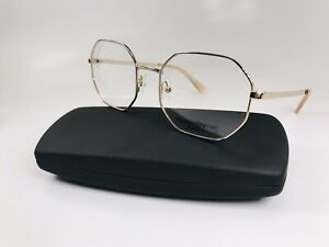 New MARCHON NYC M-4501 711 Light Gold Octagon Shaped Eyeglasses  53mm with Case