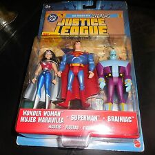 2005 Justice League Unlimited Superman Wonder Woman Brainiac Figures & Comic JLU