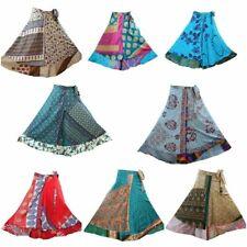 Women Vintage 2 Layer Silk Sari Magic Wrap Around Reversible Long Skirts Dress