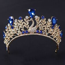 Fairy Queen HeadBand Crown Royal Blue Princess Pageant Wedding Oriental Bridal