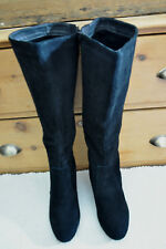 CREATION by LA REDOUTE Black Real Suede Knee High Wedge Boots  FR 40 UK 6 - 6.5